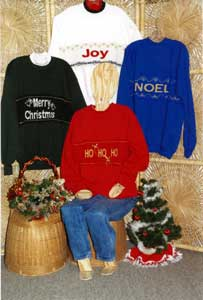 Sandee Cherry's Pattern Book Sweatshirt Strips Christmas Designs Sandee's Kwik Knit