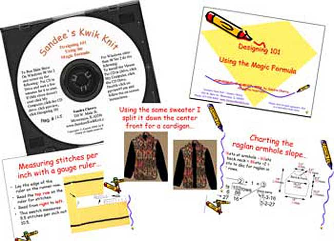 Designing 101 Using the Magic Formula CD Video for Hand Knitting and Machine Knitting Sandee's Kwik Knit